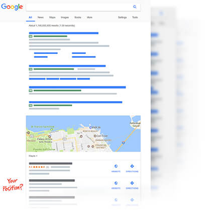 Screen shot of the SERP in 2017
