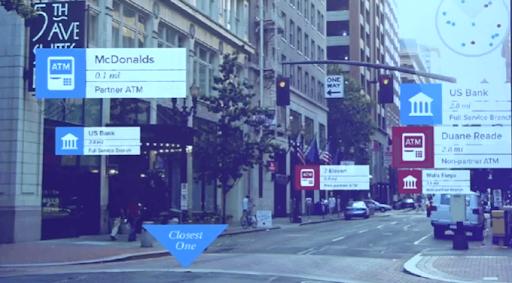 A city landscape with AR capabilities