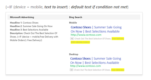 An example of what the setup looks like in Bing Ads.