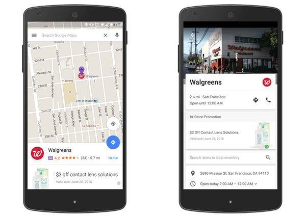 Left: A promoted pin for Walgreens in Google Maps; Right: An in-store promotion for Walgreens in a Google Maps listing