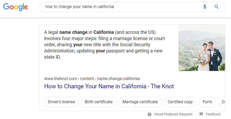 "Interactive carousel featured snippet for ""how to change your name in california"""