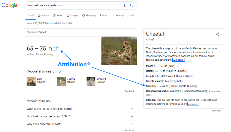 Knowledge panel attribution example