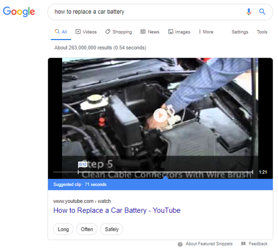 Interactive video carousel featured snippet