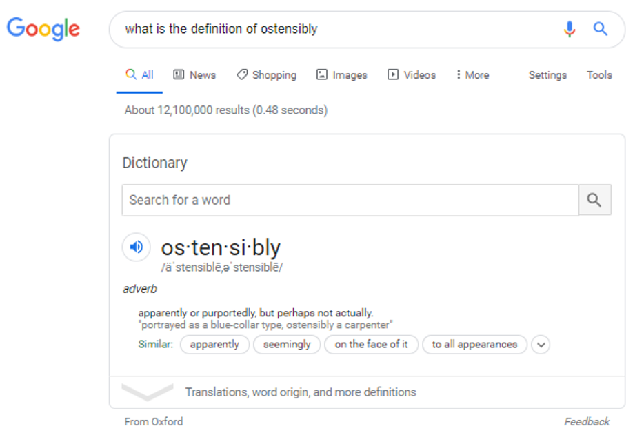 Google search result for a word definition