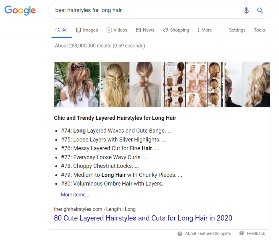 Featured snippet list for best hairstyles
