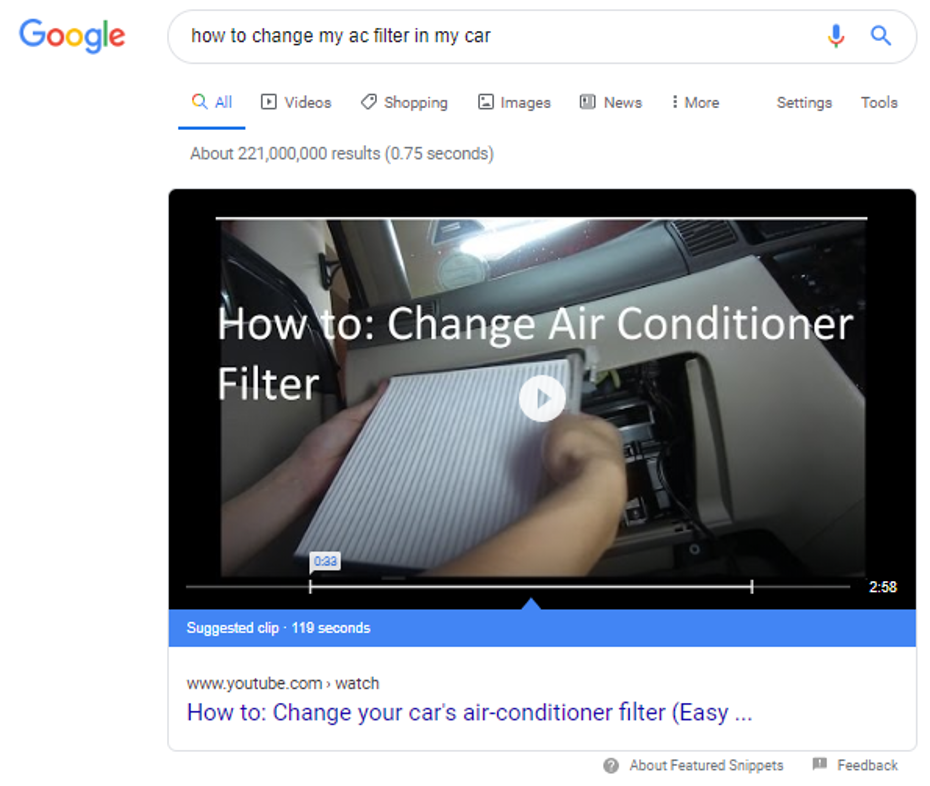 "Video search result for ""how to change my ac filter in my car"""