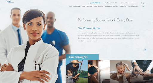 "Homepage of the website for Baptist Hospitals of Southeast Texas showing a confident-looking female doctor with her arms crossed and two other male medical staff members nearby. The image is next to the words, ""Performing Sacred Work Every Day""."