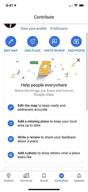 The Contribute tab in the Google Maps mobile app where users can make edits, write reviews, add photos, etc.