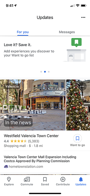 The Updates tab in the Google Maps mobile app showing news about nearby businesses