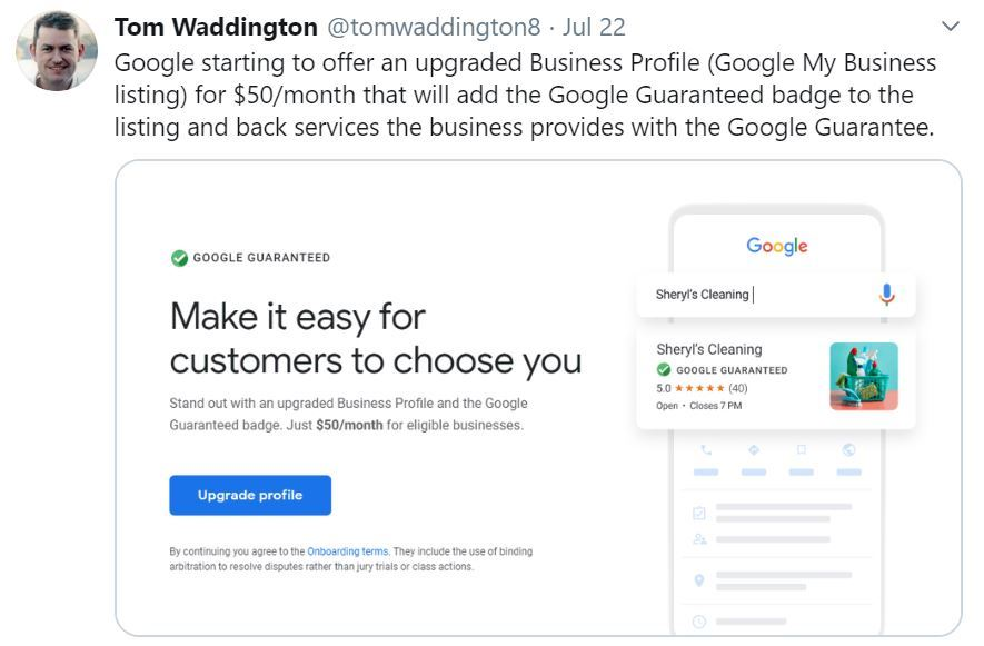Google starting to offer an upgraded Business Profile...