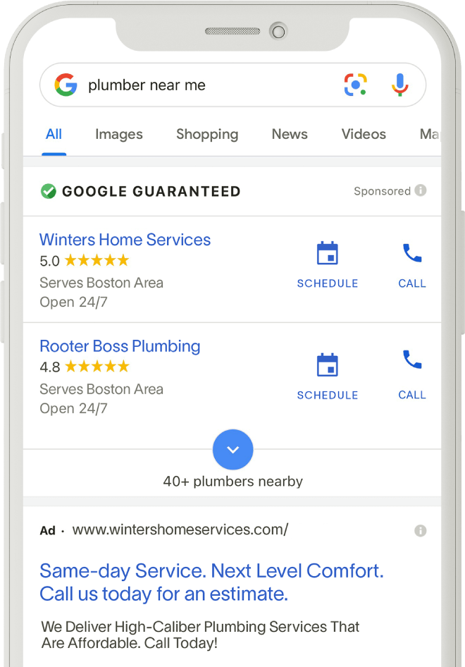 Google LSA Page on Mobile Device