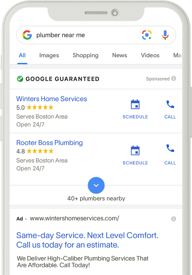 """Local Services Ads example searching for a """"plumber near me"""" on a mobile phone."""