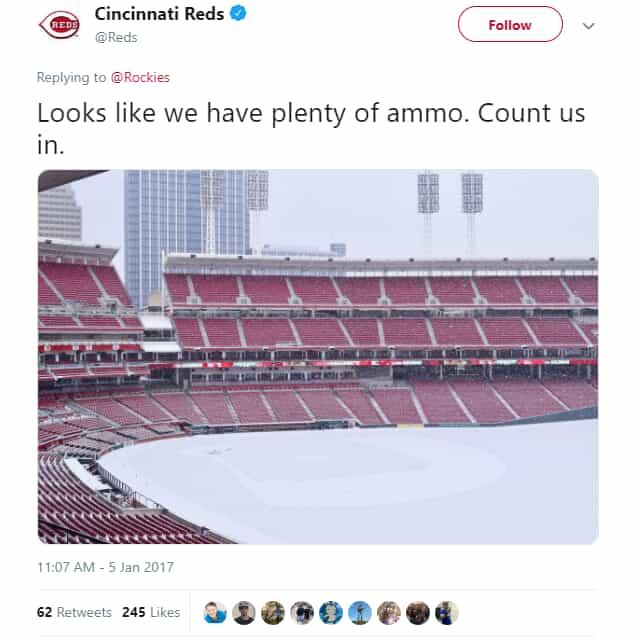 Reds Twitter post - Snow Day, empty stadium full of snow