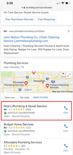 "Two Local Services Ads (LSAs) appear at the top of the map section of mobile search results (in a search for ""plumbing services houston"")."