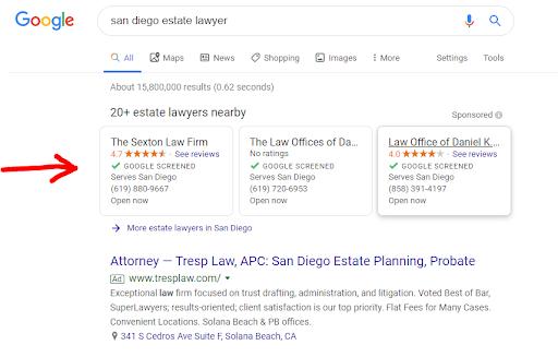 San Diego estate lawyer google search results.