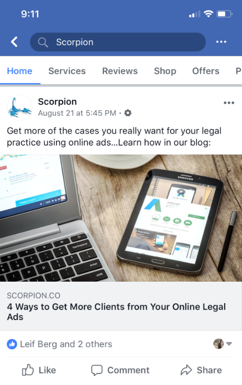 Scorpion Marketing advertising on Facebook