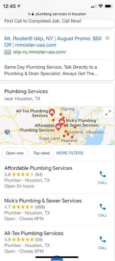 "Image of Google mobile search results for the term ""plumbing services in Houston"" (scrolled down). The map results appear below the pay-per-click results, and they do not include Local Services Ads (LSAs)."
