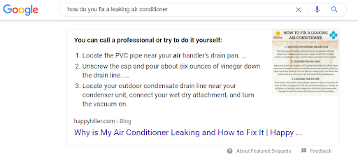 """A rich snippet that appears in a Google search for """"how do you fix a leaking air conditioner"""""""