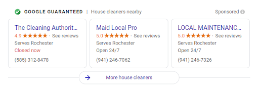 "Three Local Services Ads in Google for house cleaning companies with the ""Google Guaranteed"" badge in the section above the ads"
