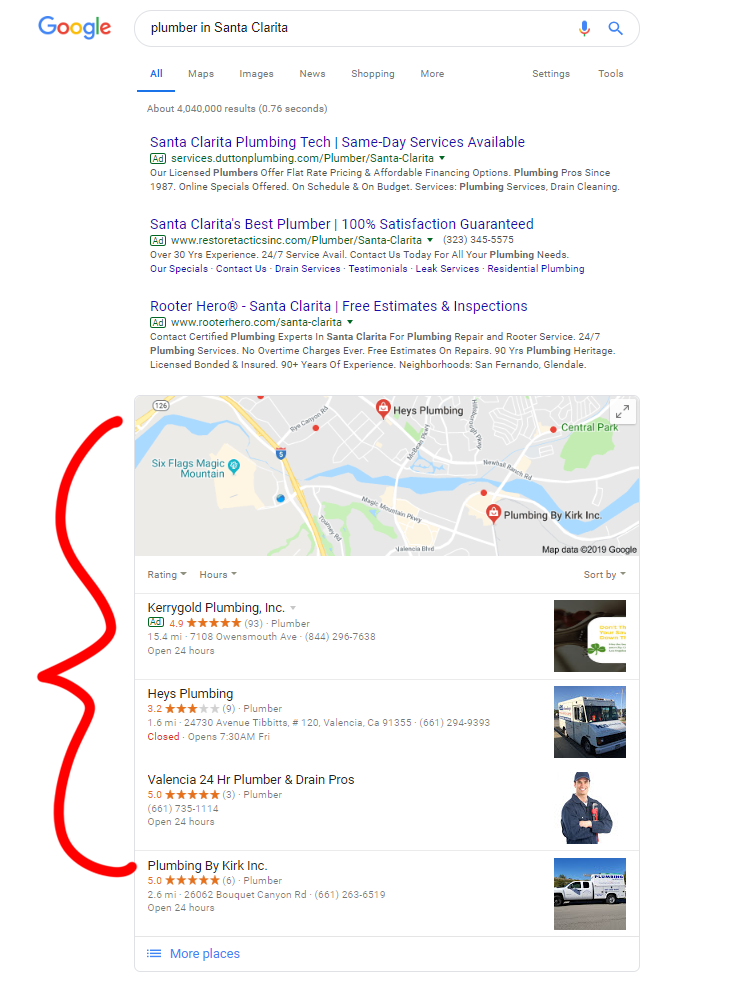 A screenshot of Businesses on Google.