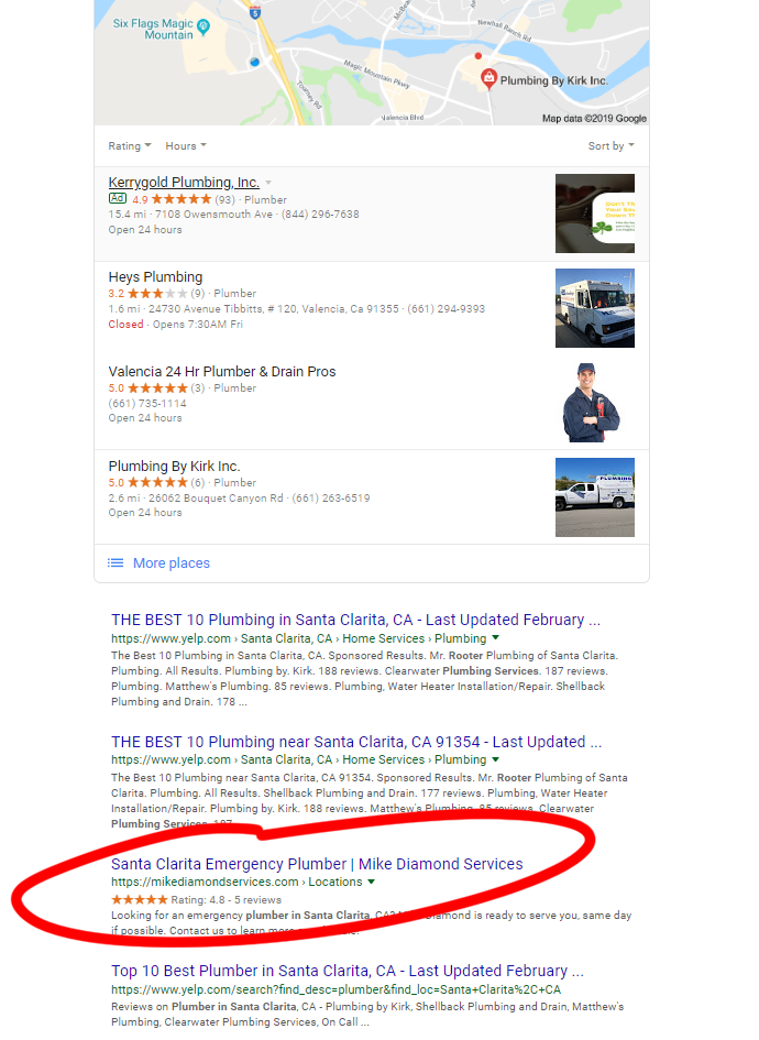 An image of a search on Google and a circled business.