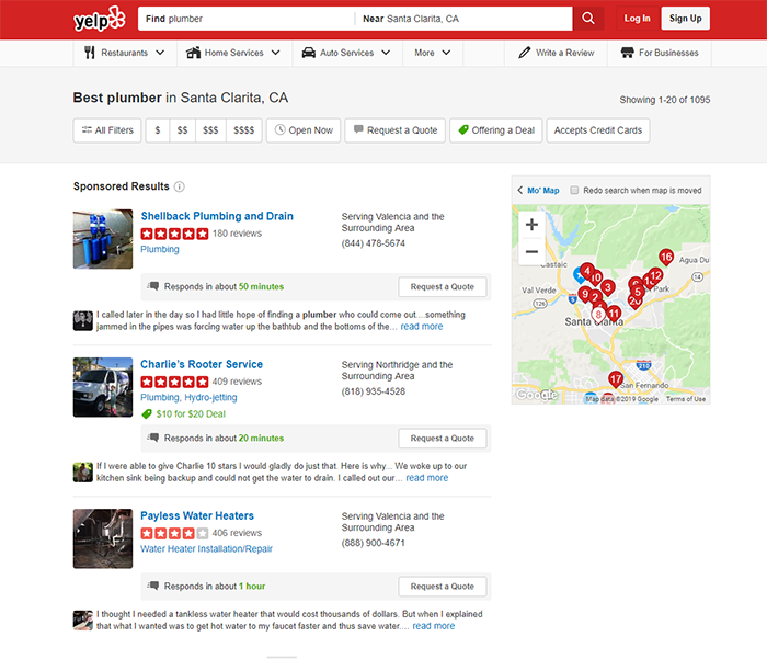 Screen shot of Yelp.