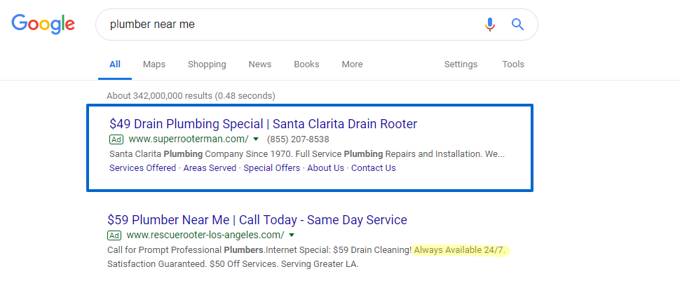 Plumber near me ads in a Google Search Results page