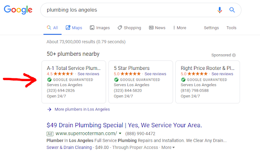 "Three local services ads that appear at the top of a Google search engine results page. The ads are for the search ""plumbing los angeles""."