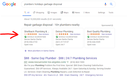 "Searching for ""plumbers holidays garbage disposal"" on Google and an arrow point to the LSAs"