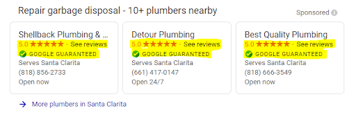 A screenshot of LSAs for repair garbage disposal and the business reviews are highlighted