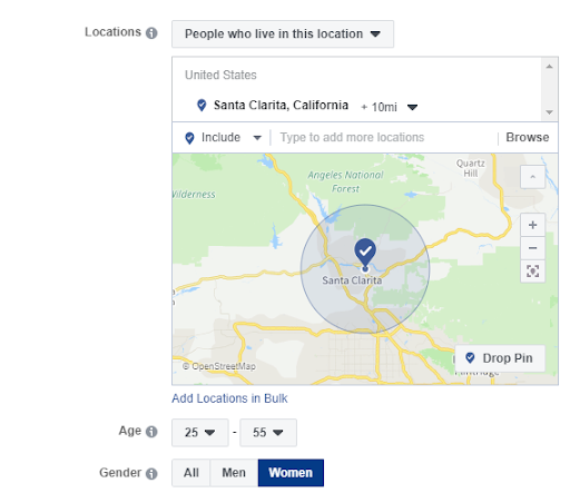 Targeting settings for a Facebook ad campaign, selecting a 10-mile radius from a location in Santa Clarita, CA and targeting women ages 25 to 55.