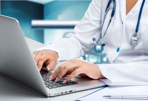 An image of doctor on a computer or tablet