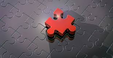 Red puzzle piece consolidated with gray puzzle