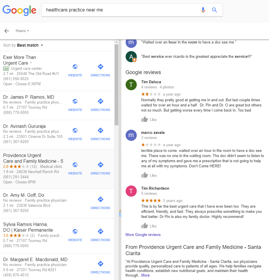 Google Search Engine Results Page for healthcare practice near me