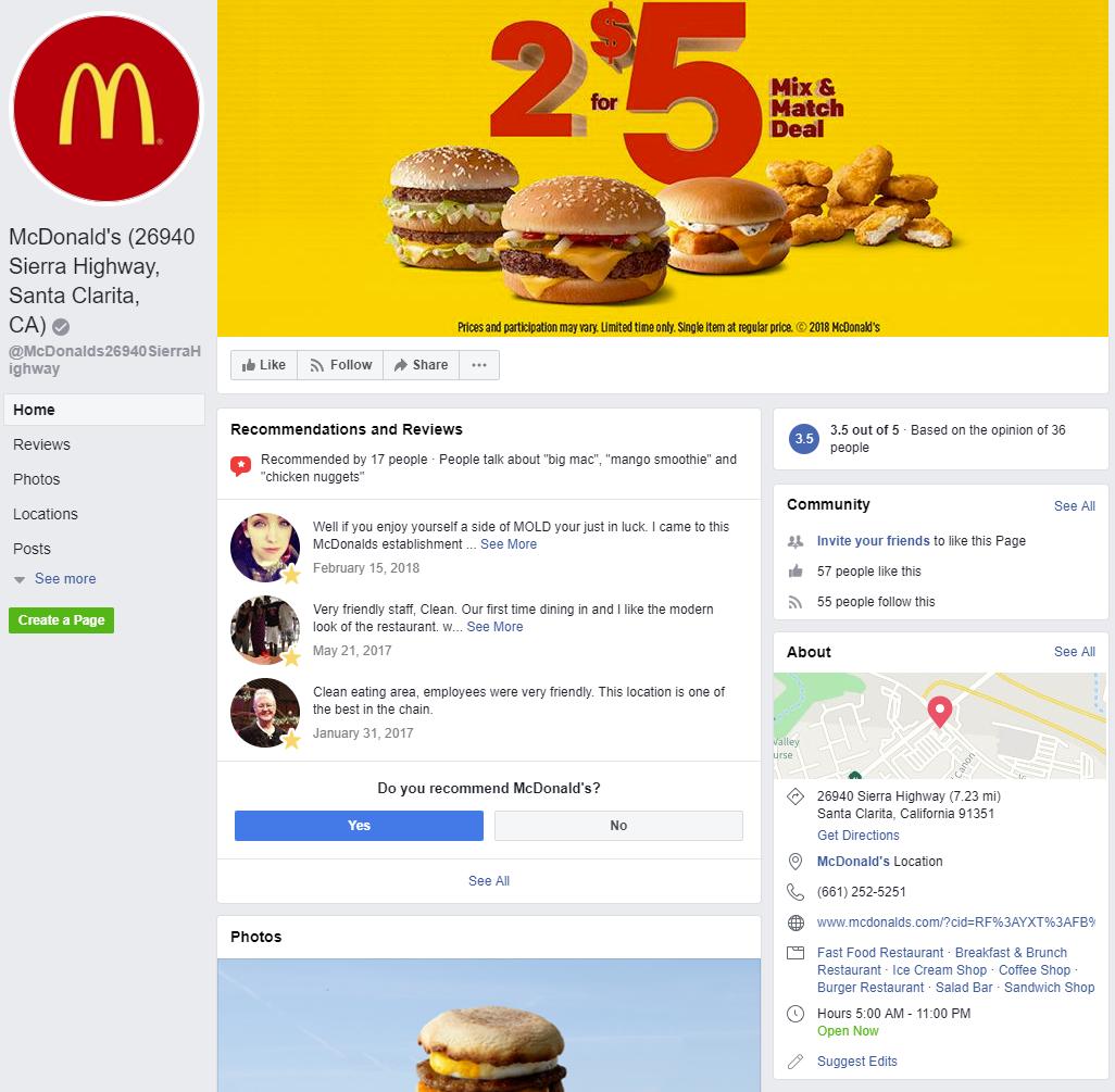 McDonald's Facebook.
